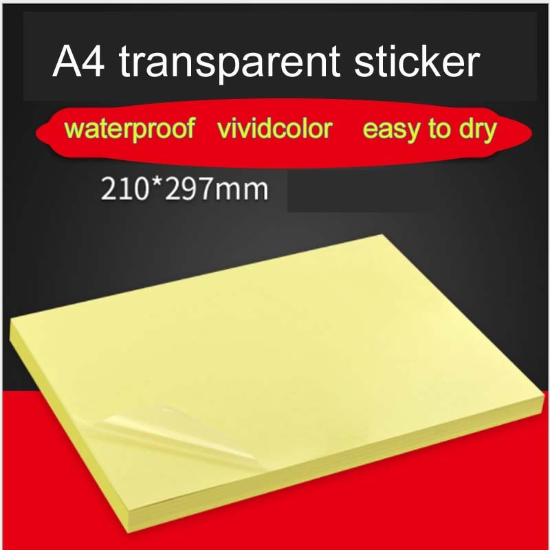 High Quality Clear Adhesive Printer Paper A4 Self Adhesive Glossy Transparent Paper Label Sticker for Laser inkjet Printers Glos