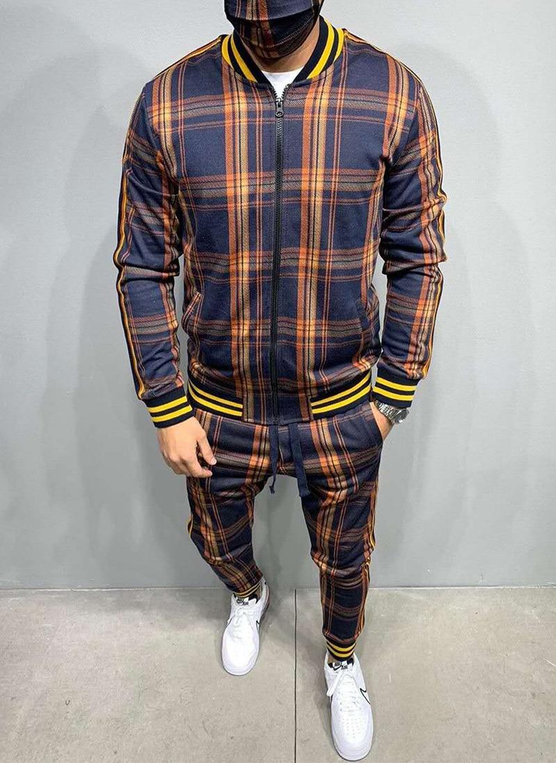 Gentleman Flower Plaid Men's Suit Jacket + Pants Sports Tracksuit High Quality 3D Printing Zipper Two-Piece Set Spot Europe 3XL