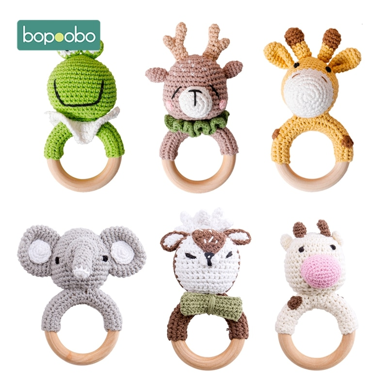 Bopoobo 1pc Baby Teether Safe Wooden Toys Mobile Pram Crib Ring DIY Crochet Rattle Soother Bracelet
