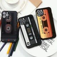 retro nostalgic classic tape phone case for iphone 11 11pro 12 promax 12mini x xr xsmax 6 7 8 plus se 2020 black silicone cover