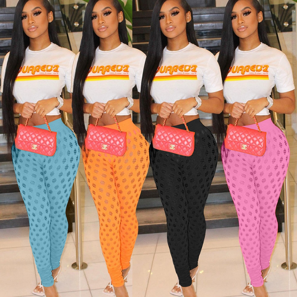 Fishnet Hollow Out Streetwear See Through Pants for Women High Waist Push Up Skinny Legging Hipster Summer Party Club Trouser