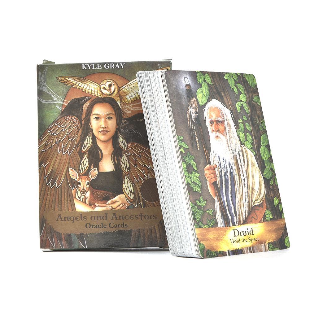 55 hojas Tarot tarjetas de la versión en inglés de Los Ángeles y antepasados Oracle cartas juego de mesa de la tarjeta de Tarot para la fiesta, juego de ajedrez