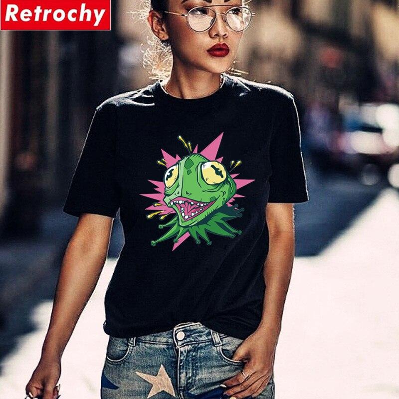 CRAZY GREEN LIZARD T-shirts Women Funny Cartoon Chameleon Tshirt For Girls High Quality Iguana Black Tees Shirt Femme Gecko Tops