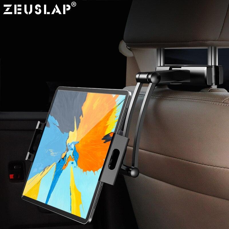 Soporte de coche para tableta ZEUSLAP para iPad Air Mini 2 3 4 Pro 12,9 reposacabezas de asiento trasero 5-13 pulgadas soporte Monito para tableta