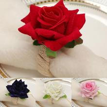 6pcs Handmade Flower Napkin Rings Faux Pink Rose Napkin Ring Serviette Buckles Holder For Table Decoration, Wedding