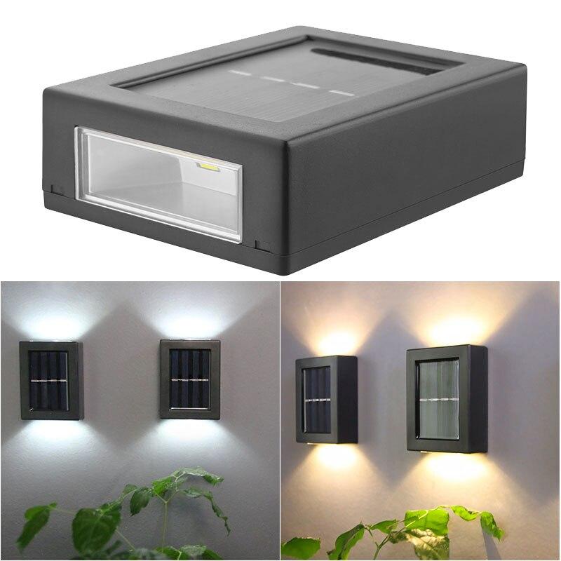 2PCS LED Solar Wall Light Outdoor Waterproof IP65 Porch Garden Wall Lamp Yard Decoration Solar Wall Lighting Lamp Light Sensor