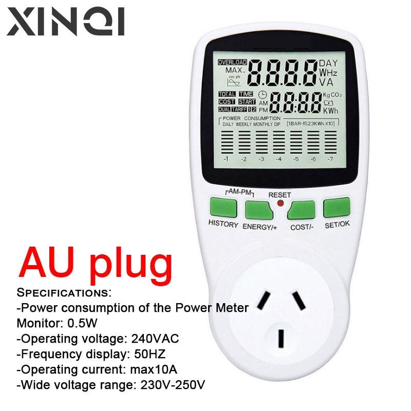 Medidor de energia ac medidores 220v digital wattmeter au watt monitor de energia eletricidade diagrama de custo tomada medição analisador 4.9