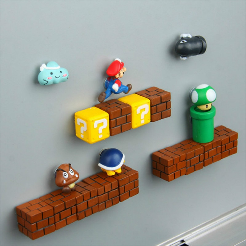1pcs Kawaii Mario Bros Fridge Magnets Refrigerator Magnet Message Sticker Adult Man Girl Boy Kids Children Toy Birthday Gift