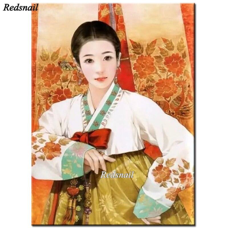 DIY 5D Kit de pintura Diamond coreanos para chica pintura ropa tradicional taladro completo 3D arte bordado casa decoración YY2529