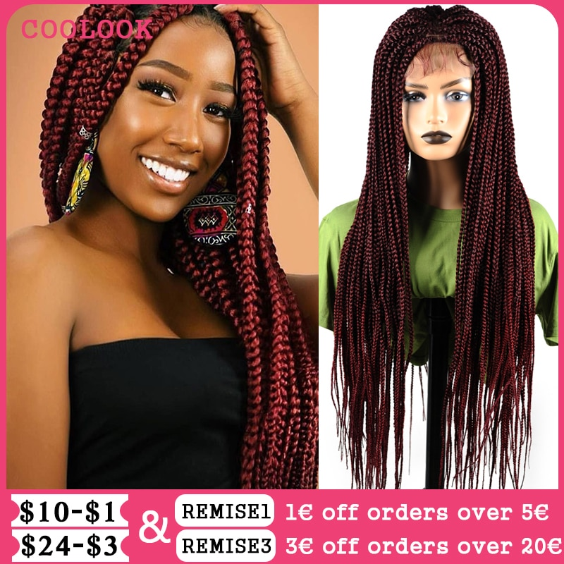 Ombre Red Box Braids Lace Front Wigs for Black Women 30'' Long Box Braided Lace Wigs with Baby Hair Synthetic Brown Cosplay Wig