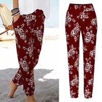 fitness legging femme women elastic waist printing leggins easy trousers long pants boho beach pockets pantalones de mujer