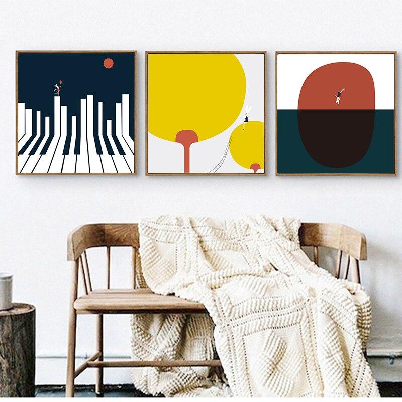 Música tema pintura em tela nodic minimalista arte imprime cartaz piano chave melodia imagem da parede abstrata sala de estar casa decora