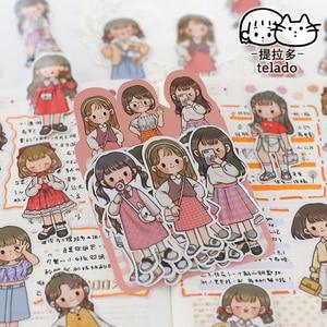 Dimi  20 Pcs/Desgin  Cute Wears Boy&Girl Ins Sticker Scrapbooking  DIY Diary Stationery Sticky Label Kawail Decor Cartoon Decals