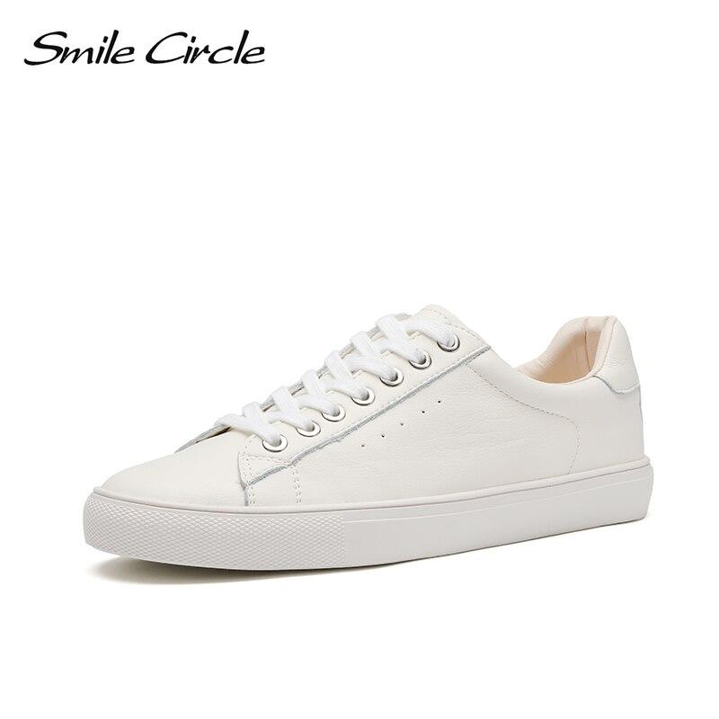 Smile Circle White Sneakers Women Genuine Leather Low-Heel Flat Platform Ladies Fashion White Shoes Women size 36-42