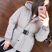 winter new ladies fashion high street ski womens clothing zipper hooded mid length jacket female reflective cotton coat casual