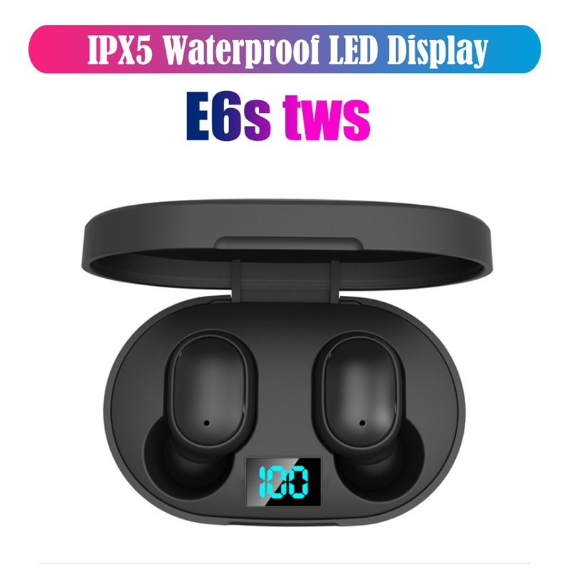 E6S TWS Wireless Bluetooth 5.0 Earphone Noise Cancelling LED Display With Mic Handsfree Earbuds earphones For Smart Watch Phone