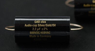 1pcs German GAD Silver/Gold/Oil frequency division coupling gold and silver foil oil-immersed audio capacitor Free shipping