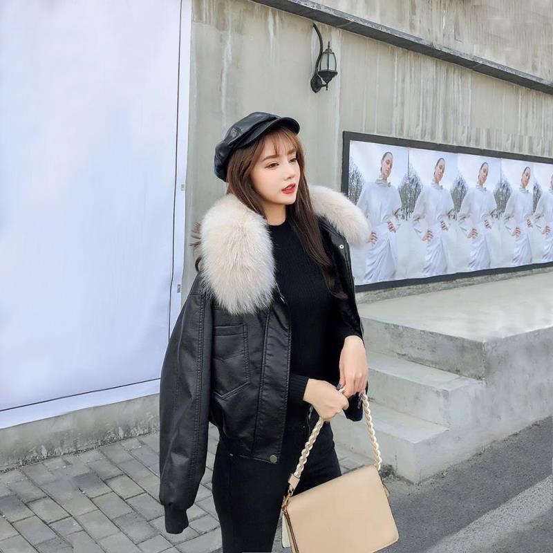 2021 ربيع الخريف المرأة موضة بولي Leather جلد أنثى أنيقة الصلبة فو فرو سترات السيدات كم طويل أسود الشارع الشهير معاطف Q26