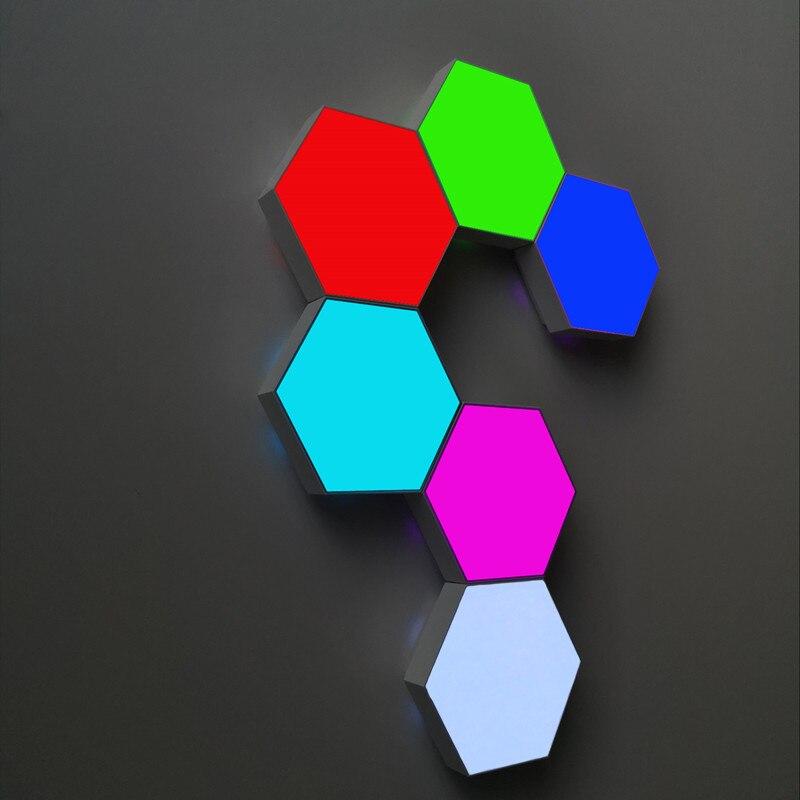 Colorido rgb usb quantum led lâmpada de parede splicing hexagonal led casa luz controle remoto toque parede favo mel lâmpada presentes