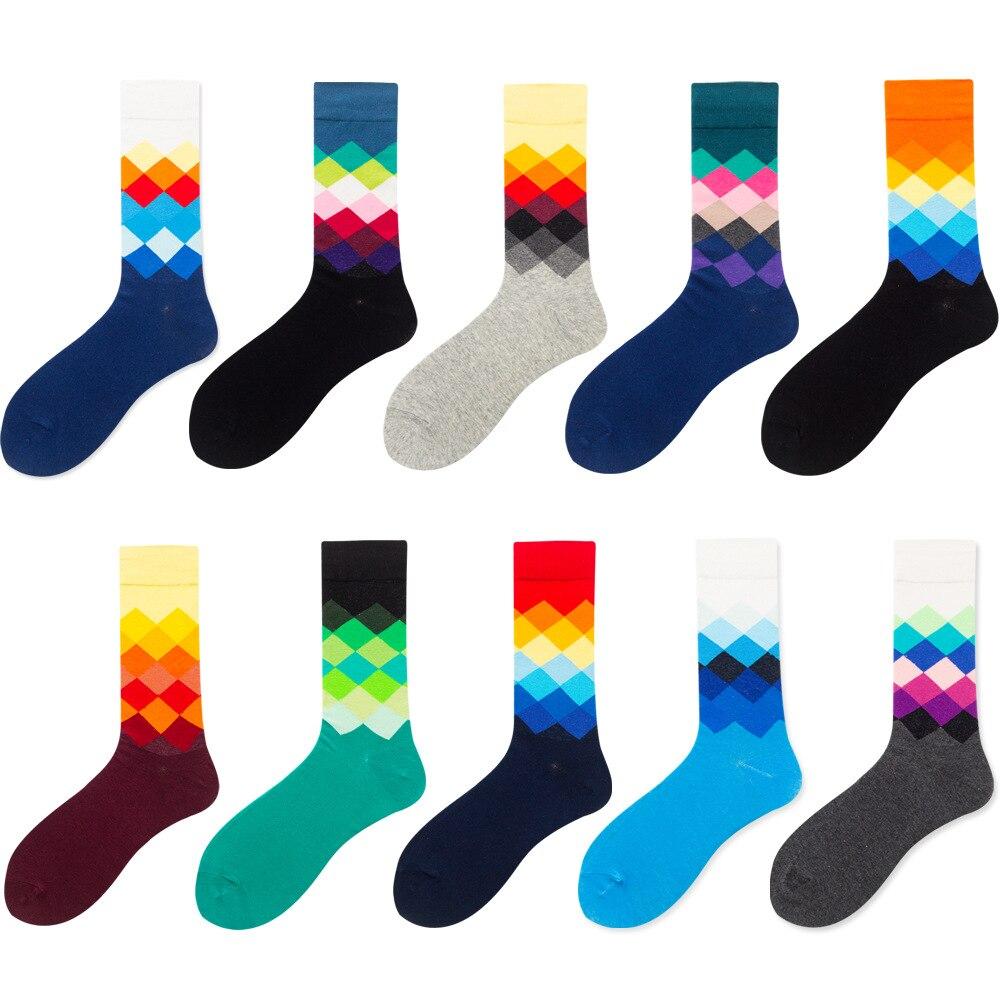 4 шт. = 2 пара/лот, лидер продаж, повседневные мужские носки, новые носки, модные дизайнерские клетчатые разноцветные вечерние хлопковые носки...