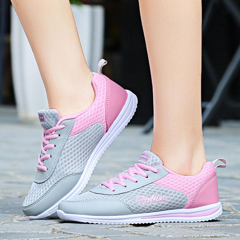 Dropshipping, zapatillas de deporte para mujer, zapatillas planas de verano para mujer, mocasines de malla de talla grande, zapatos planos superligeros para caminar