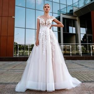 Princess Wedding Dresses for Bridal 2021 Elegant Lace Bride Gowns Beach Party Dress Illusion Back Cap Sleeve Sweep Train Dress