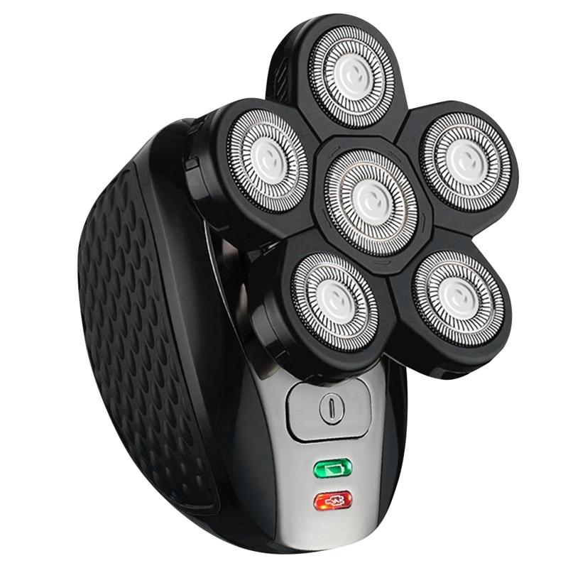 6 شفرات ماكينة حلاقة كهربائية للرجال 4D العائمة رئيس الشعر المتقلب USB قابلة للشحن الحلاقة تدوير فرشاة وجه مجموعة عناية شخصية