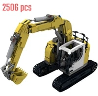 high tech engineering yellow crawler excavator building blocks modular transportation vehicles diy bricks model toy gifts for ki