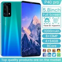 P40 pro 5,8 дюймов 3200mAh Andriod 9 смартфон 128 ГБ/256 Гб палец Face ID мобильный телефон Snapdragon 865 8 ядро двойная SIM сотовый телефон