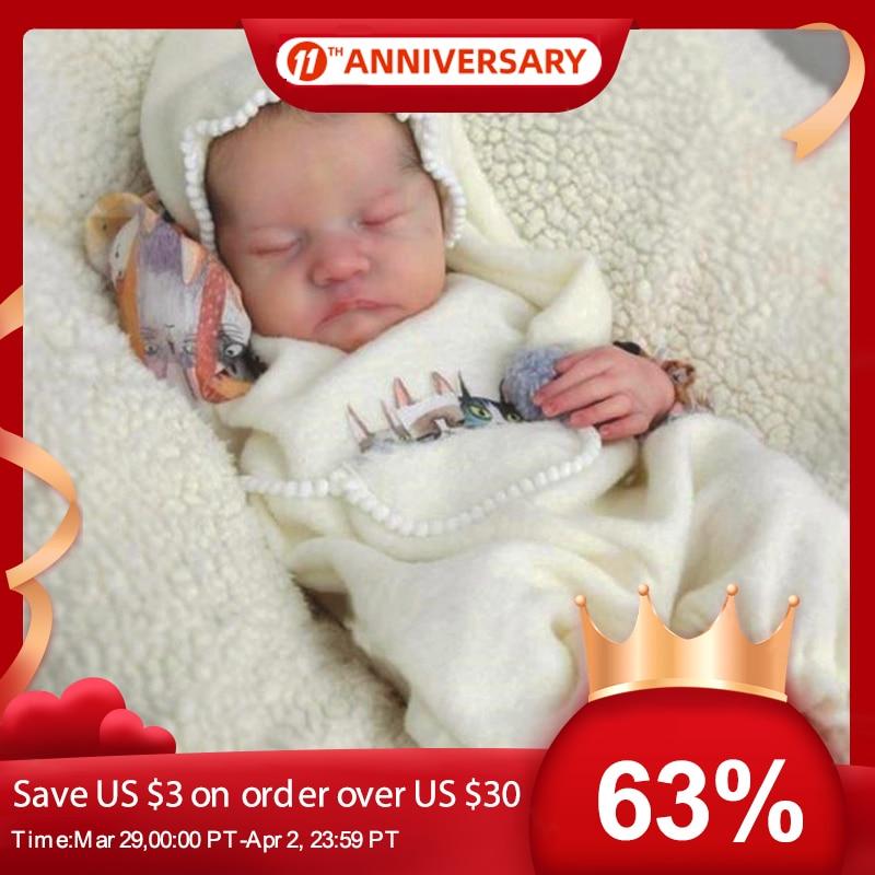 RSG Bebe Reborn Doll 17 Inches Lifelike Newborn Reborn Baby Levi Vinyl Unpainted Unfinished Doll Parts DIY Blank Doll Kit