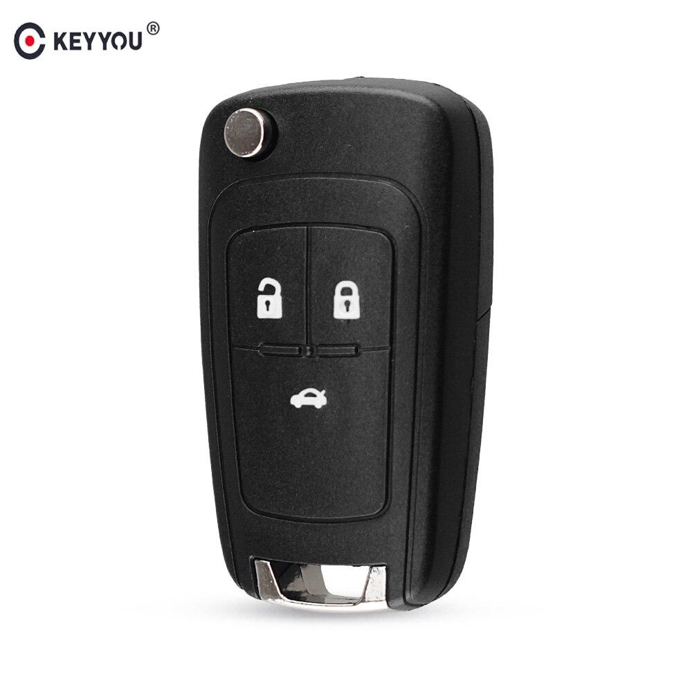 KEYYOU Flip carcasa de llave a distancia de coche para Chevrolet Cruze Epica Lova Camaro Impala Aveo 2010, 2011, 2012, 2013 HU100 hoja