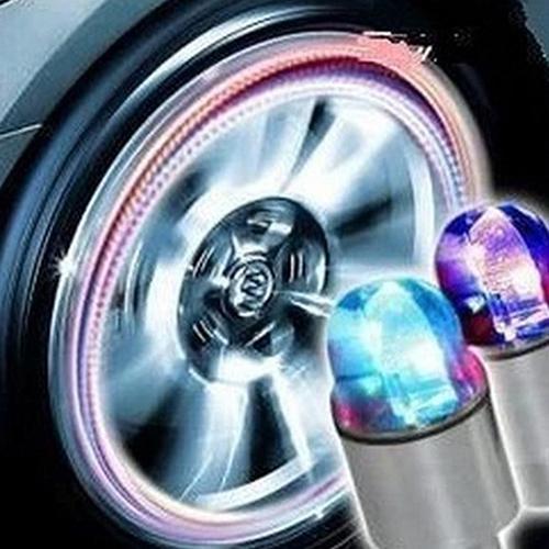 1PCS Car Wheel LED Light Motocycle Bike Light Tire Valve Cap Decorative Zinc Alloy Lantern Tire Valve Cap Flash Spoke Neon Lamp
