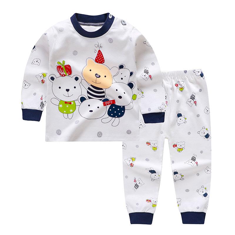 2019 Cartoon Print Baby Girls Boys Pajamas Sets Cotton Kids Boys Sleepwear Autumn Spring High Waist Long Sleeve Tops+Pants
