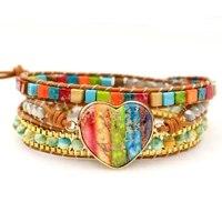 new chakra bracelets multilayers women leather wrap bracelets jaspers beaded cuff bracelet boho jewelry lovers love bracelet