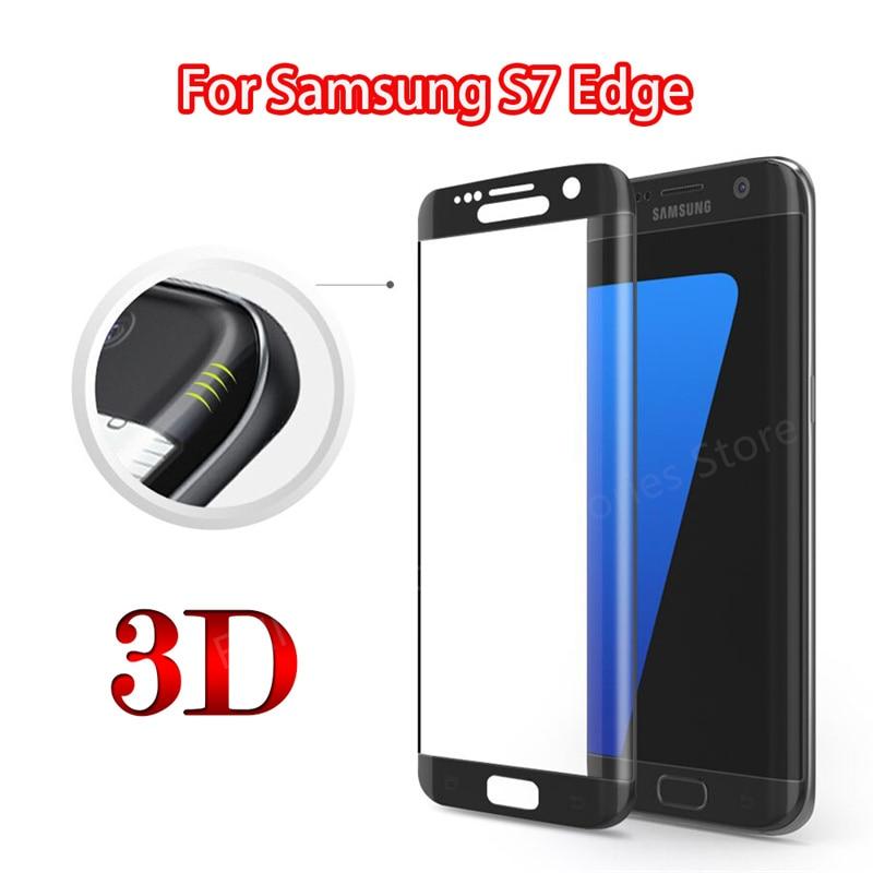 Verre de Protection 3D pour Samsung S7 Edge, Film de Protection d'écran incurvé en verre trempé pour Galaxy S7 Edge