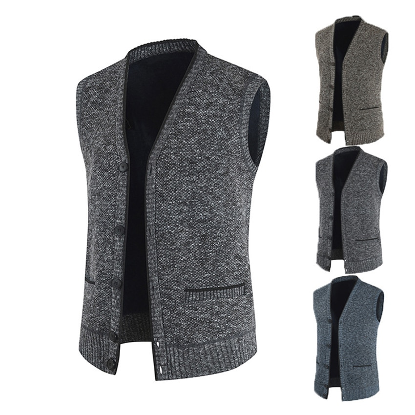 Fashion Male Spring Autumn Vest Solid Color Casual Sweaters Men Slim Fit Coat Sleeveless Jacket Clothing