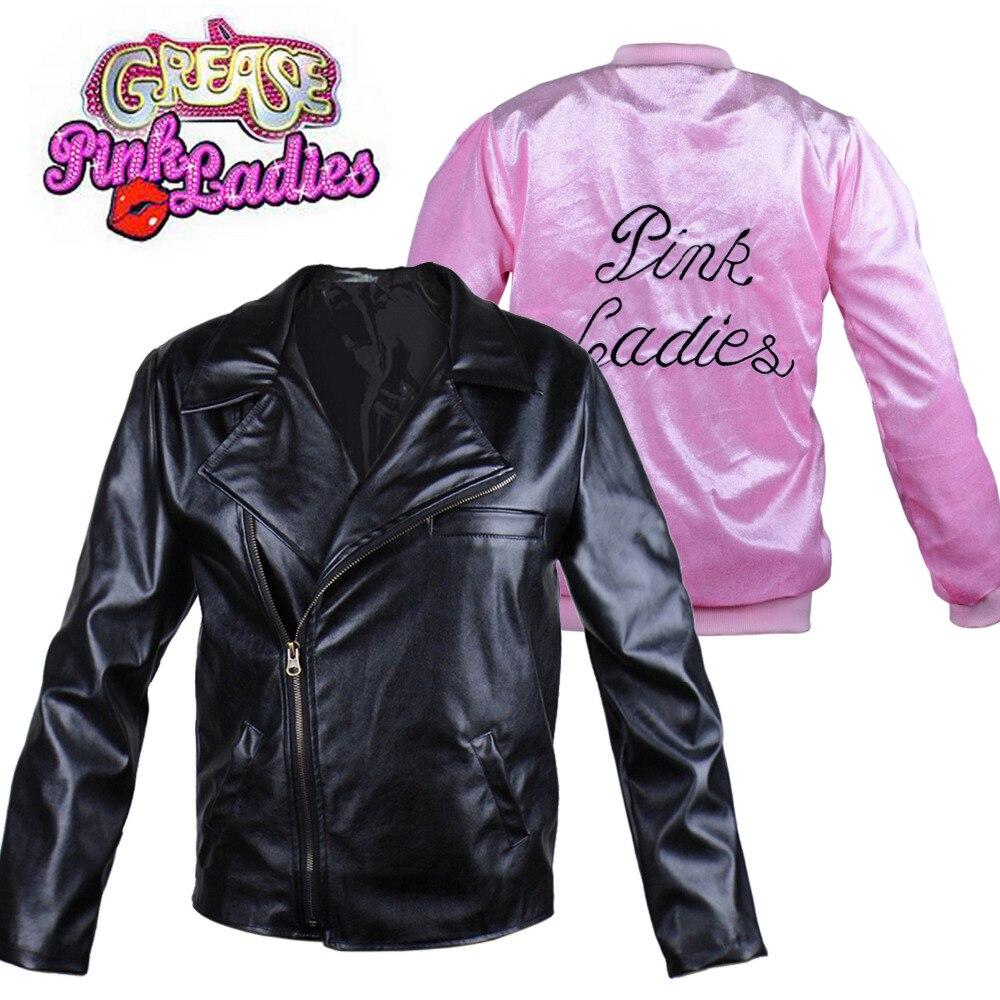 Greaser casal sandy e danny cosplay traje 50s rockabilly rosa senhoras/t-birds jaqueta adulto das mulheres do dia das bruxas vestido extravagante
