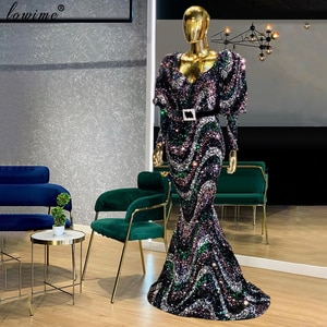 Middle East Plus Size Evening Dresses 2021 Long Sleeves Formal Evening Gowns With Sashes Turkish Couture Party Robe De Soiree