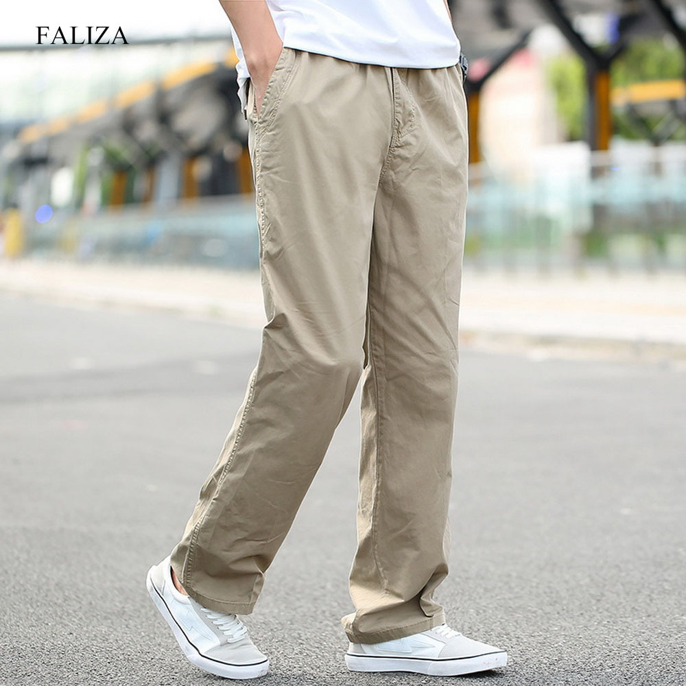 FALIZA Men's Casual Trousers Loose Wide Leg Military Tactical Cotton Overalls Male High Quality Stre