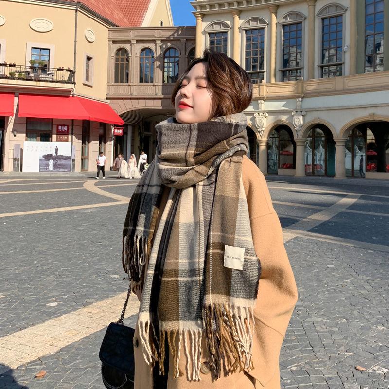 Scarf Women's Warm Autumn and Winter Versatile Student British Style Thousand Bird Lattice Japanese Outdoor Travel Shopping Bib