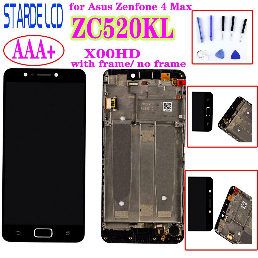 شاشة Starde 5.2 بوصة لهاتف Asus Zenfone 4 Max ZC520KL X00HD, شاشة LCD تعمل باللمس ، مجموعة زجاجية مع إطار وأدوات