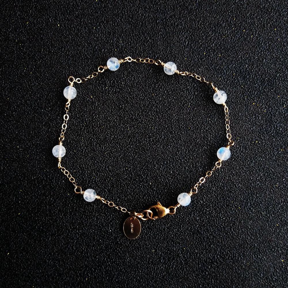 Lii ji genuíno moonstone pulseira aurora 4mm moonstone us14k gf corrente pulseira delicada jóias para o presente de ano novo
