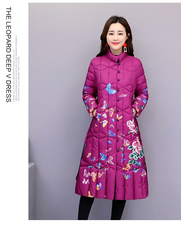 Winter original Chinese style flower print Diagonal collar cheongsam style long-section jacket with cotton lining for women