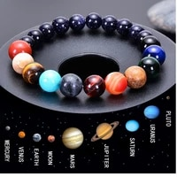 men bracelet for men women natural stone beaded chakra yoga bracelet universe solar system planets bracelets charm jewelry