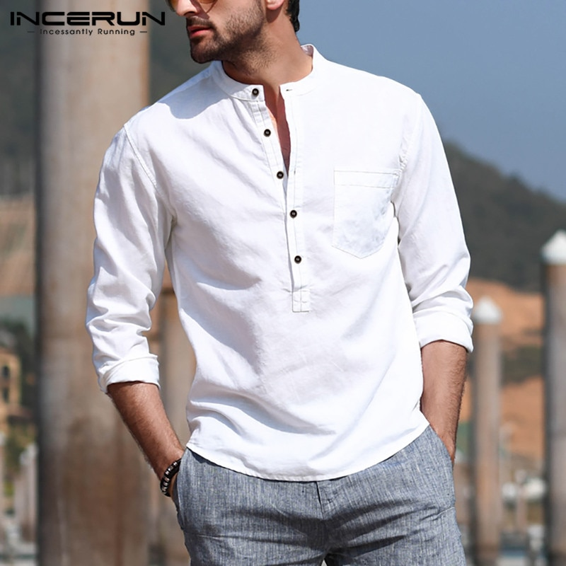 AliExpress - INCERUN Men's Casual Shirt Cotton Solid Color Long Sleeve Blouse Chic Stand Collar Fashion Handsome Tops 2021 Streetwear Camisas