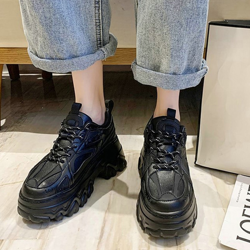 Women Platform Chunky Sneakers Woman Thick Bottom Lace Up Vulcanized Women's Casual Sport Shoes Ladi