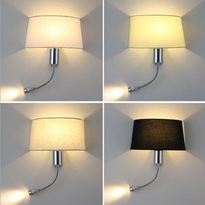 LED Fabric Wall Lamp for Bedroom, Industrial art wall sconces with gooseneck led lamp for reading,hotel,