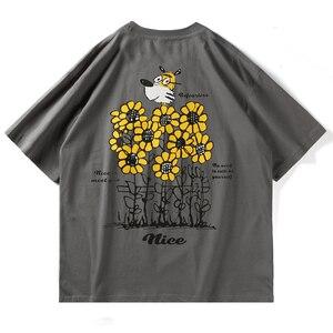 LACIBLE Hip Hop T-Shirts Men Harajuku Cartoon Dog Flowers Print Short Sleeve Tees Shirts Streetwear Summer Casual Cotton Tops