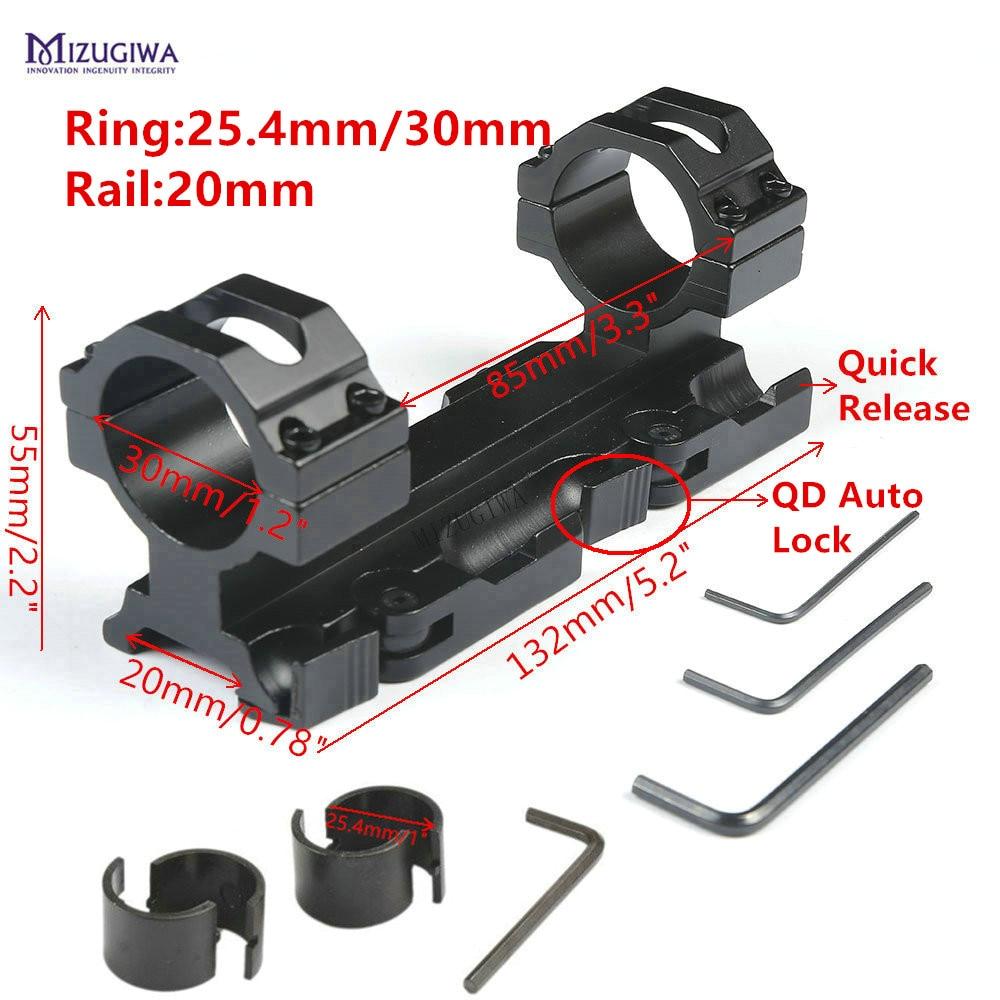 "AR15 M4 Scope Mount 30mm 1"" Ring Quick Release Cantilever Heavy Duty Rifle Scope Mount 20mm Picatinny Rail Weaver QD Auto Lock"