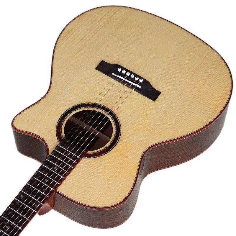 عالي اللمعة الكهربائية الصوتية الغيتار 40 Inch قيثارة خشبية عالية الجودة أعلى Cutway تصميم اللون الطبيعي 6 سلاسل الغيتار الشعبية مع حقيبة جيتار